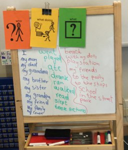 What, What Doing, Who Activity. Students would put their hand up and offer their word.